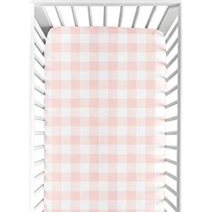 Sweet Jojo Designs Pink Buffalo Plaid Check Girl Fitted Crib Sheet Baby or Toddler Bed Nursery – Blush and White Shabby Chic Woodland Rustic Country Farmhouse