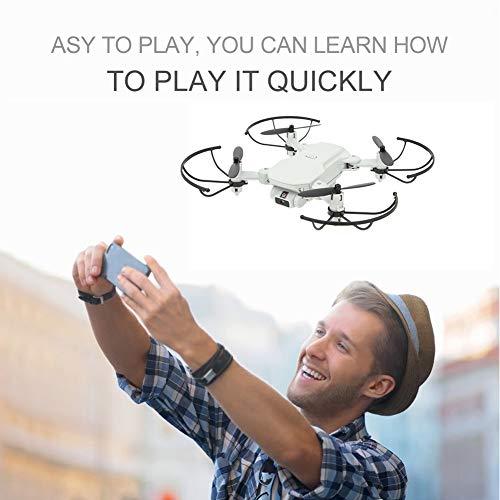 Tomantery Mini Drone Pieghevole all'aperto Giocattolo per Adulti e Bambini Amici Famiglia Ragazzi Ragazze(Bianco, 480P)