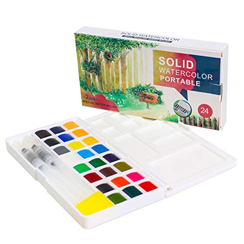 Kids Watercolor Paint Set, Art Supplies Painting Gifts for Artists, Adults, Teenagers, Set of 24 Assorted Vibrant Colors with Watercolor Paint Brush Pens, Palette, and Durable Storage Case