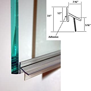 Clear Polycarbonate Drip Rail and Sweep Combination w/VHB Tape for Frameless Shower Doors - 33-5/8 in Long