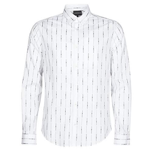 Emporio Armani Herren Hemd Bianco Logo Nero L