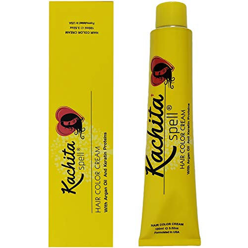 Permanent Hair Dye Natural Brown Ash 4.1 Kachita Spell 3.52 oz 100 mL Professional Hair Color Cream with Keratin and Argan Oil, 100% Gray Coverage