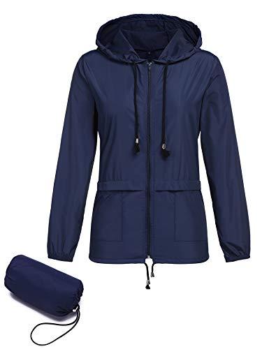 Regenjacke Damen Leichte Wasserdicht Packaway Sommer Kurze Hunter Regenmantel Outdoor Softshell Kurze Jack Blau S