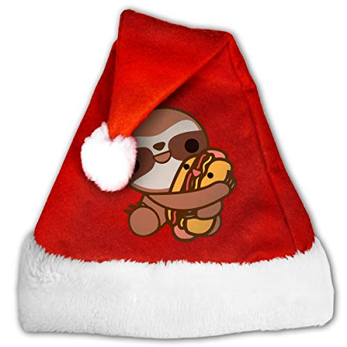 CZLXD Sloth Loves Hot Dogs. Cappello di Natale in Feltro, Accessorio per Feste, Poliestere, Rosso, Small