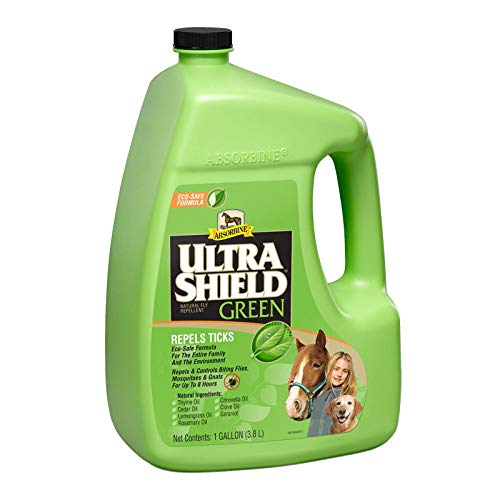 Absorbine UltraShield Green Fly Spray, Eco-Friendly Repellent for Horses & Dogs, Includes Essential Botanical Oils, 128oz Gallon Refill