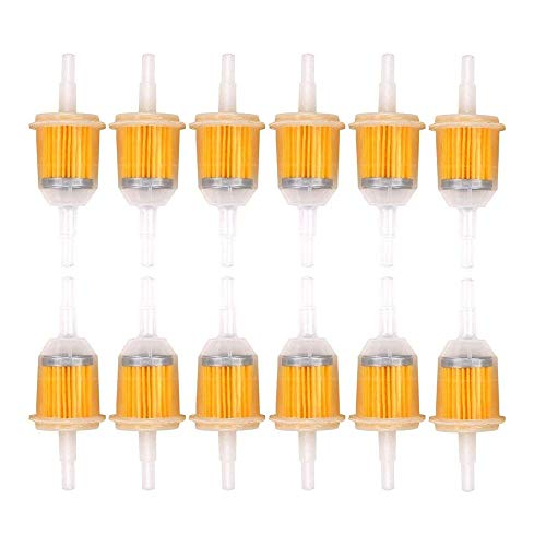 12 Piezas Filtro de Combustible Gas, Filtro Combustible Gasolina, Pequeño Filtro Combustible, Filtro Combustible Gasolina para Ciclomotor, Scooters, Go-Kart, Bicicleta Diesel (33 x 46,5 x 100 mm)