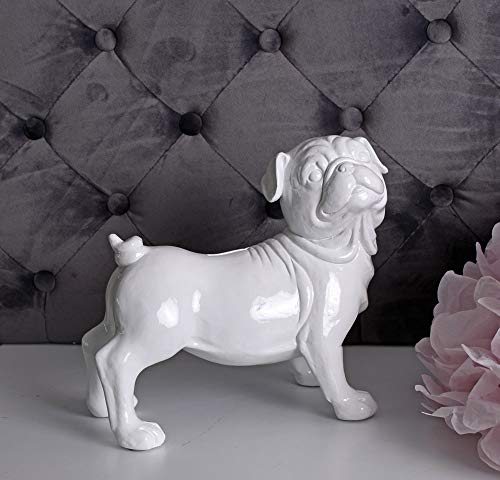 Unbekannt Spardose Mops Figur Sparschwein Sparbüchse Hundefigur Mopshund Weiss Palazzo Exklusiv