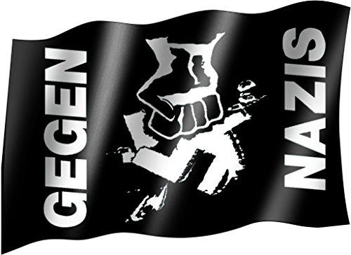 Sportfanshop24 Flagge/Fahne GEGEN Nazis Staatsflagge/Landesflagge/Hissflagge mit Ösen 150x90 cm, sehr Gute Qualität