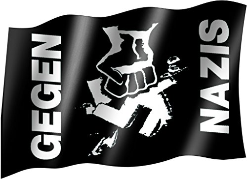 Flagge/Fahne GEGEN NAZIS Staatsflagge/Landesflagge/Hissflagge mit Ösen 150x90 cm, sehr gute Qualität