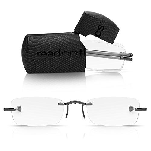 Read Optics kompakte Lesebrille +1,0 Dioptrien. Faltbar mit randlosen rechteckigen Premium Difuzer™ Gläsern. Für Herren und Damen, mit Teleskop-Bügeln inkl einem kleinen Hartschalen-Etui