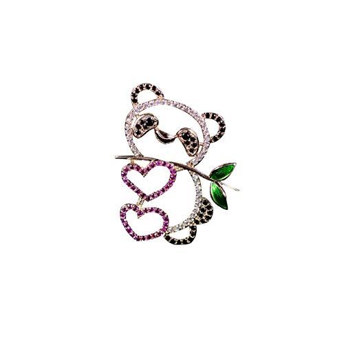 QPODGQ Broche AAA Cubic Zirconia Panda Lindo Animal Esmalte Pin Broche para Mujeres Accesorios De Fiesta