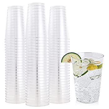 FOCUSLINE 100 Pack Clear Plastic Cups 12 oz Disposable Cups Heavy Duty Plastic Tumblers Reusable Clear Hard Plastic Cups Tumblers for Wedding Thanksgiving Halloween Christmas Party