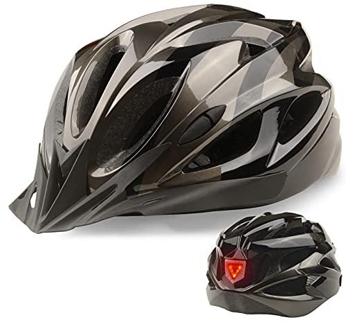 Shinmax Casco Bici Certificato CE Casco MTB Uomo Donna Casco da Bicicletta con Luce LED Unisex Casco Ciclismo con Visiera Regolabile Caschetto Bici Adulto Ultraleggero Caschi Mountain Bike 56-62 cm