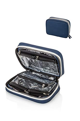 """Kulturtasche """"Infinity Bag"""" von MARGO München Kosmetiktasche mit herausnehmbaren, transparenten Innentaschen. Ideal für Flugreisen und Urlaub. Geschenkidee für Frauen und Männer. (blau)"""