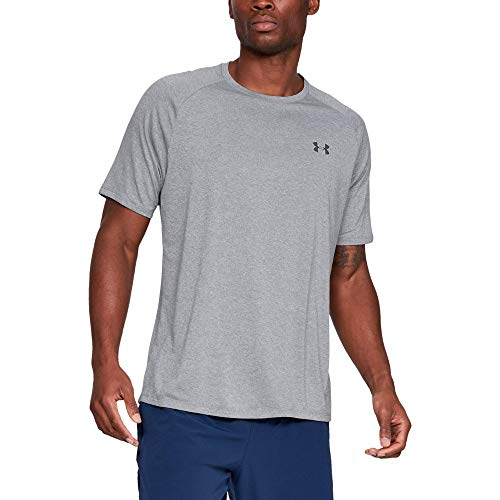 Under Armour Herren Tech 2.0 Shortsleeve atmungsaktives Sportshirt, Steel Light Heather / Black, L