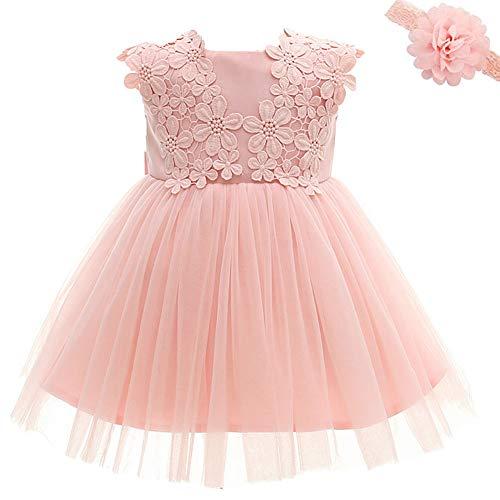 Vestito per bambina da principessa, per matrimoni, compleanni, battesimo Rosa Pink