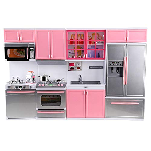 Urban Kit Deluxe Modern Kitchen Playset | Battery Operated Toy Kitchen | Mini Kitchen playset | Dollhouse Kitchen Furniture | Battery Kitchen | Deluxe Kitchen Pink