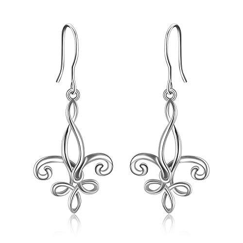 ONEFINITY Fleur De Lis Earrings Sterling Silver Lucky Celtic Knot Hook Earrings Jewelry Gifts for Women