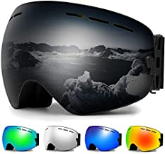Zerhunt Ski Goggles, Snowboard Goggles Over Glasses, Anti Fog UV Protection Snow Goggles OTG Interchangeable Lens for Men Women Snowmobile, Skiing, Skating, Black