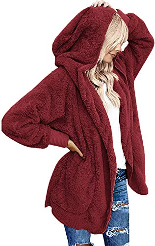 Womens Fuzzy Jacket Sherpa Coat Open Front Hooded Cardigan Outwear with Pockets (WineRed,L)