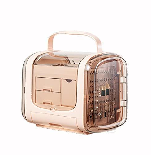 WUQIAO Caja de Almacenamiento portátil para cajones de joyería, Estilo Europeo de Gran Capacidad, para Pendientes, Anillo,Rosado