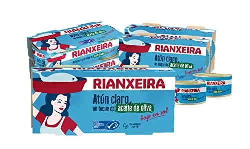 RIANXEIRA. Pack de 16 latas x 65g. de Atún Claro Bajo en Sal con un toque de Aceite de Oliva. Certificación de pesca sostenible MSC.