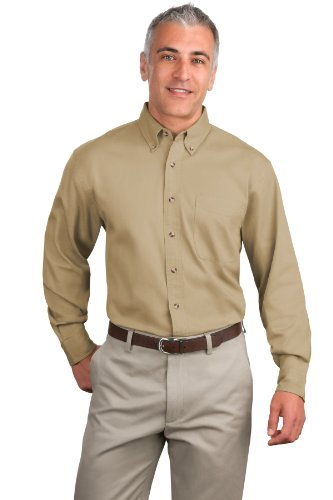 Port Authority Men's Tall Long Sleeve Twill Shirt 2XLT Khaki