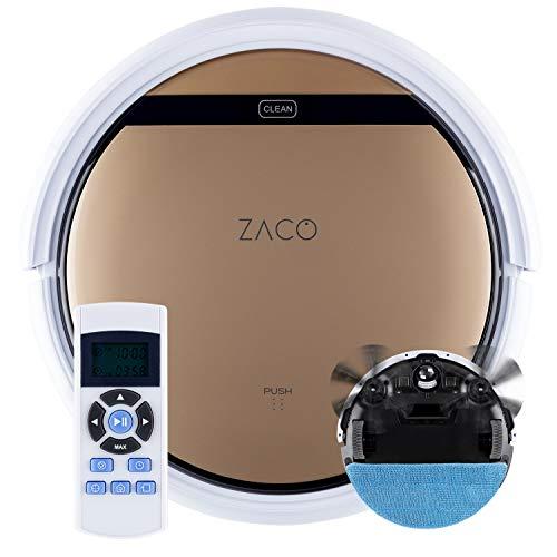 ZACO - Robot Aspirateur V5sPro avec Télécommande - Robots Aspirateurs Laveurs 2 en 1 Intelligents sans Fil pour Sol dur et Tapis - Nettoyeur Autonome, Navigation, pour Cheveux et Poils d'Animaux