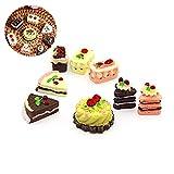 Naisicatar 8pcs Mini-Kuchen Puppenstuben Dekoration Spielen Lebensmittel Set Küche Food Cake Donuts...
