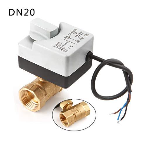 Qiulip AC220V DN15 DN20 DN25 - Válvula de bola motorizada de latón con interruptor manual (2 vías, 3 cables)