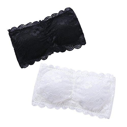 PRETYZOOM Women s One Size Strapless Lace Bandeau Bra Padded Removable Seamless Stretch Bandeau Tube Bra Top (2pcs , White & Black)