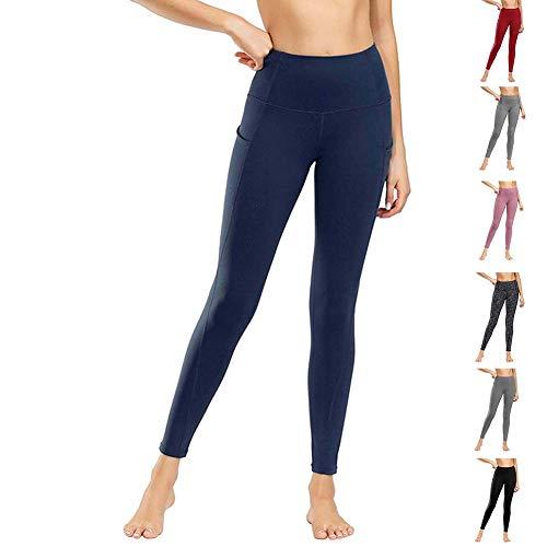 Damen Leggings Yogahosen Sporthose Tights Laufhose High Waist mit Taschen Dehnbar Jogginghose Yoga Sport Fitness Laufen(ck.Marine,m)