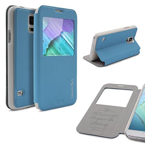 Urcover® View Hülle kompatibel mit Samsung Galaxy S5, Hülle mit [ Sichtfenster und Standfunktion ] Schutzhülle Schale Etui Cover [DEUTSCHE Marke] - Hell Blau/Version 1