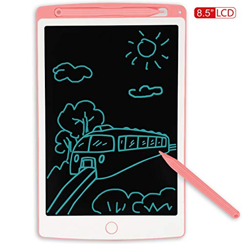 JONZOO LCD Writing Tablet, 8.5 inch Mini Electronic Doodle Board Kids Drawing Board, Digital Handwriting Pad with Pen, Erasable Reusable eWriter Paper-Saving Tool for Home/School/Office, Pink