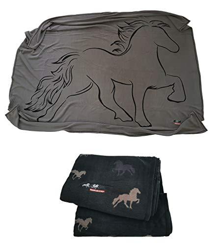 netproshop Fleece Decke Karlslund Kuscheldecke mit Motiv Isländer Pferd, Farbe:Schwarz