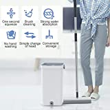 OKBOP Sponge Mop and Bucket Set for Home, Wood Floor Cleaning Tools, Double Roller PVA Foam Mop System, Stainless-Steel Handle, Free Hand Washable (White)