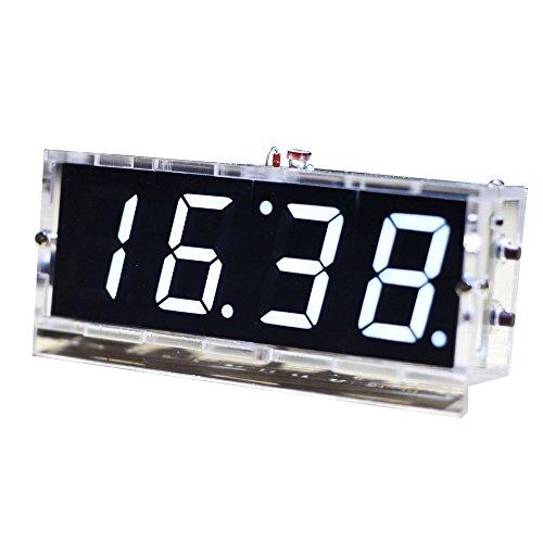 KKmoon Kompakte 4 Stellige DIY LED Digitaluhr Kit Light Control Temperaturanzeige Datum Zeit mit Transparenten Etui (Weiß)