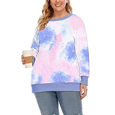 Amazon - Save 50%: YASAKO Womens Plus Size Casual Tie Dye Camo Print Long Sleeve Shirts Crew…