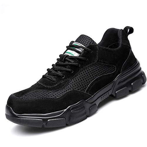YHHF Sicherheitsschuhe Herren Leicht Stahlkappe Sportlich Atmungsaktiv Schutzschuhe Sicherheitsstiefel Industrie Schuhe Sicherheitssneaker,Black,37EU