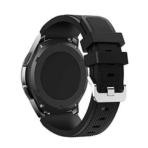 Correa de silicona compatible con Samsung Galaxy Active Gear S3 Frontieramazfit bip/gtr 47 mm/Galaxy Watch 46 mm suave pulsera deportiva 22 mm 20 mm, 22mm, Silicona Acero inoxidable, Correa de reloj,