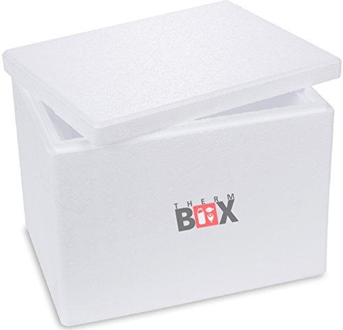 THERM BOX Styroporbox - Thermobox für Essen & Getränke - Styropor Kühlbox & Warmhaltebox (40x30x30cm - 19,58l Volumen) Wiederverwendbar
