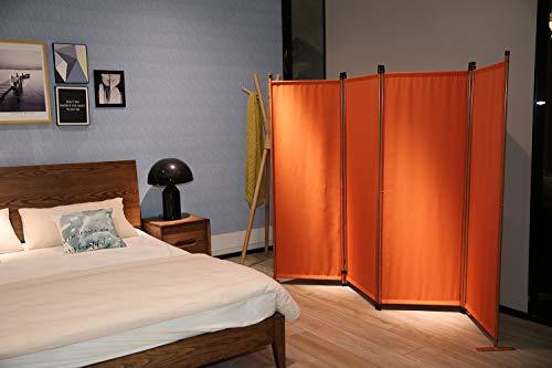 Angel Living Paravent 4tlg Sichtschutz,Faltbildschirm Raumteiler Sichtschutz aus Stahl und Polyester (Paravant Terracotta)