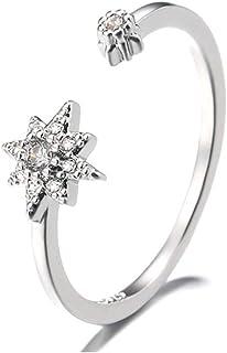 خاتم Tafeily Flower 925 من الفضة الإسترلينية مفتوحة الزركون خواتم قابلة للتعديل بالأصبع مجوهرات للنساء والفتيات