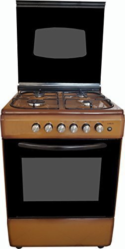 LAREL Cucina Marrone 60x60 4 fuochi con Forno a Gas metano o GPL, Grill Elettrico e Coperchio in Vetro