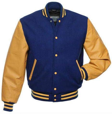 New Mens Classic Letterman Varsity Bomber Genuine Cowhide Leather /& Wool Jacket