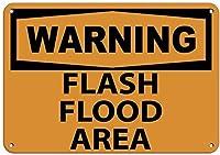 かわいい装飾、警告フラッシュ洪水エリア2799錫の壁標識警告サイン金属プラークポスター鉄絵画アート装飾バーホテルオフィス寝室庭