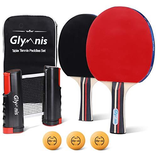 Glymnis Tischtennisschläger Set Tischtennis Set mit Tischtennisnetz 2 Schläger 3 Bälle und 1 Tasche Ideal für Anfänger, Familien und Profis