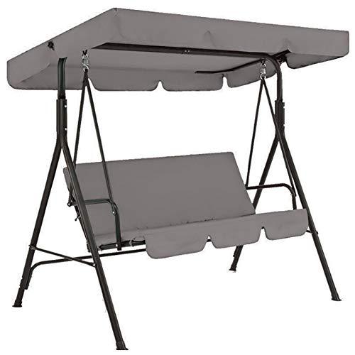 Gelentea 3-Sitzer-Hollywoodschaukel-Abdeckung, Überdachung, Sitzkissenbezug-Set, Terrassenschaukel, Hängematten-Ersatzteil, wasserdicht grau