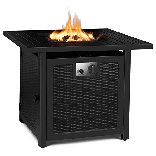 FIXKIT 30' Propane Fire Pit Table, 50,000 BTU Auto-Ignition Gas Fire Table with Waterproof...