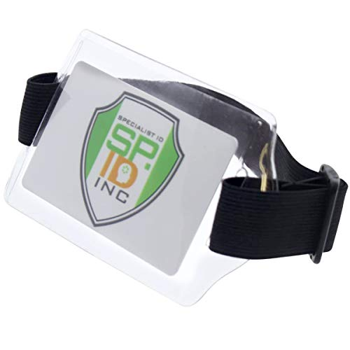 Armband ID Badge Holder with Clear Card Sleeve Visibility - Adjustable Elastic Arm Band Strap with Hook and Loop Fastener for Horizontal Size Name Badges by Specialist ID (Black)